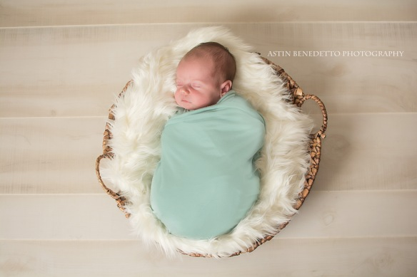 Complete~ NJ Newborn Photographer baby in basket blue swaddle