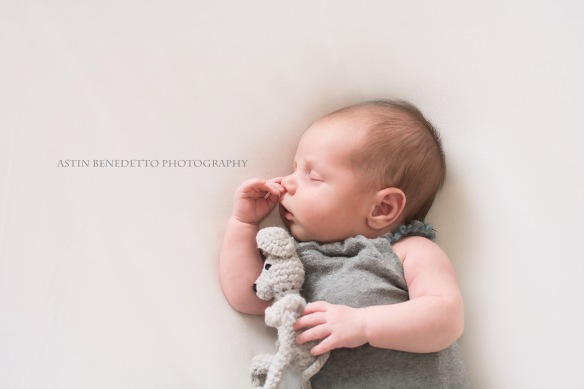 Complete~ NJ Newborn Photographer baby asleep with crocheted mouse