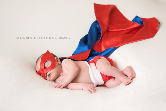 Complete~ NJ Newborn Photographer baby in super hero outfit
