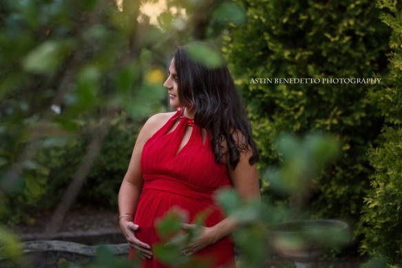 Astin-Benedetto-Photography-Hunterdon-County-NJ-Maternity-Photographer-Pregnant-woman-red-dress-through-leaves